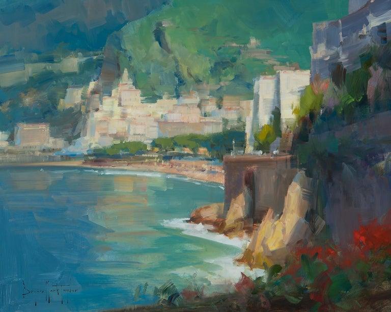 "Bryan Mark Taylor Landscape Painting - Modern Impressionist Seascape ""Amalfi"" Plein Air Oil of Italy"