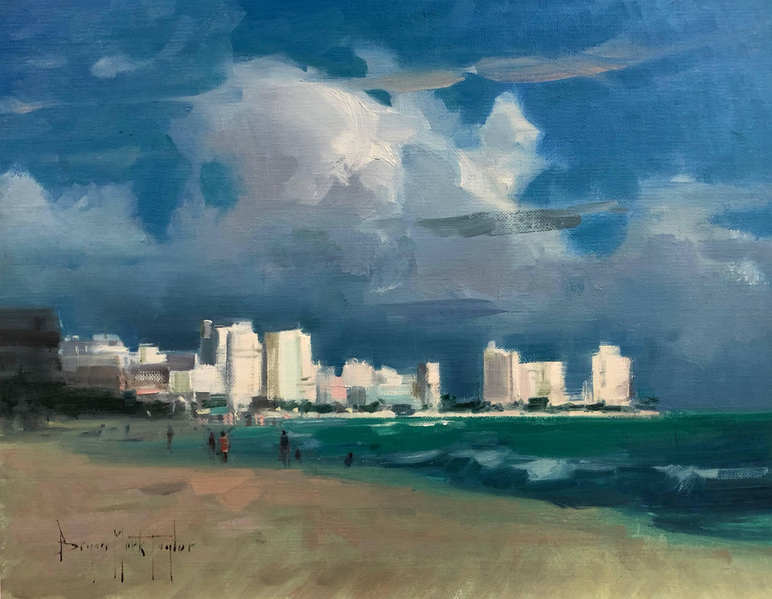 "Modern Impressionist Seascape ""Cancun Coastline"" Oil by Bryan Mark Taylor"