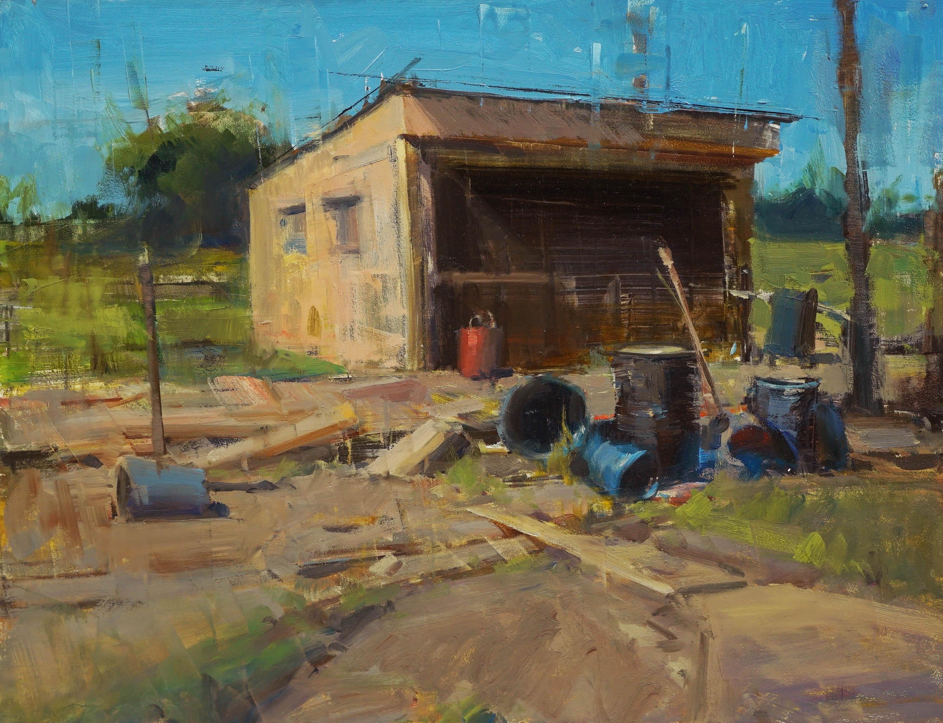 """Modern Impressionist Western Plein air Landscape oil """"Chicken Coop"""""""