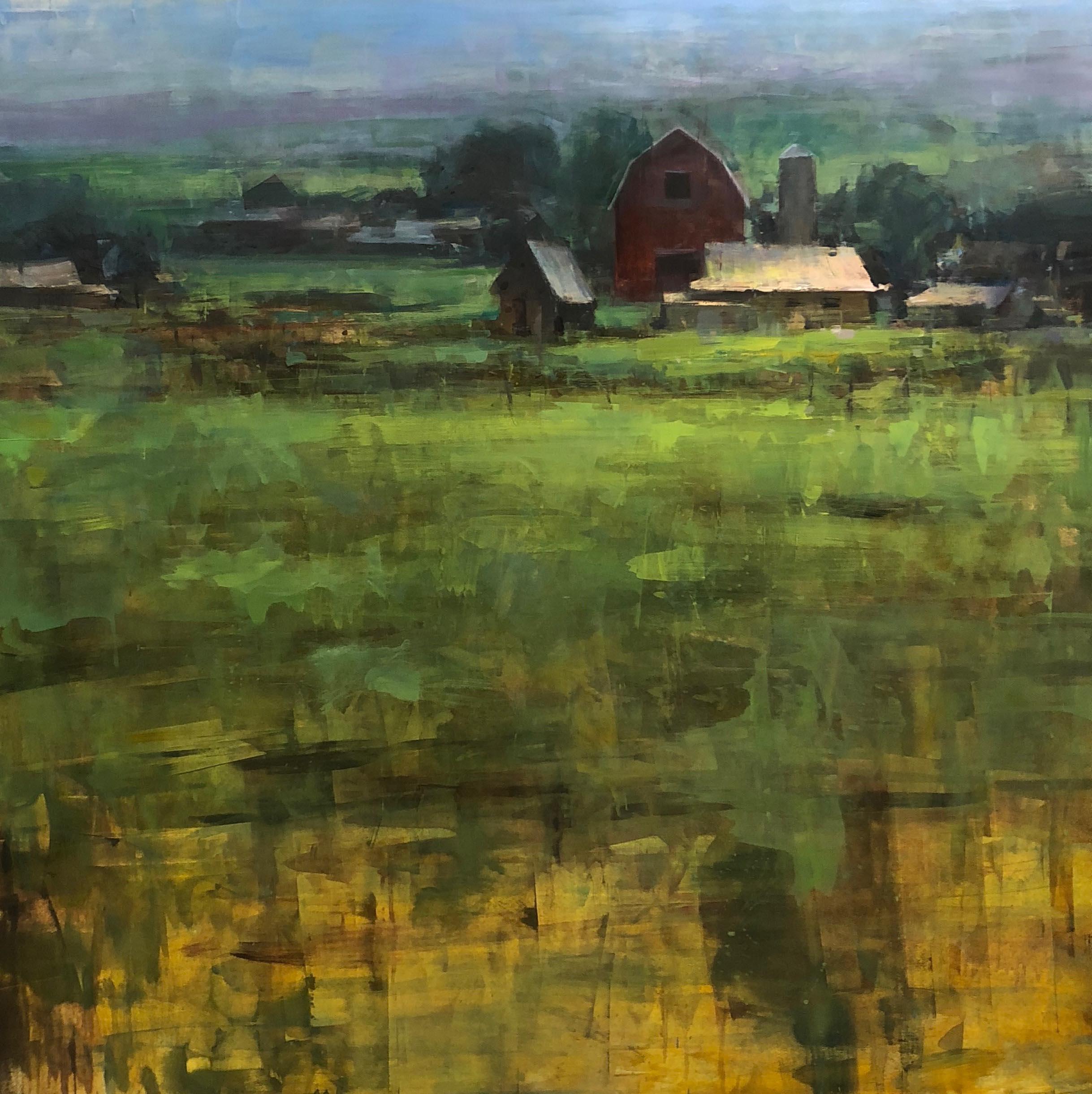 """North Valley Farm"" Modern Impressionist American Plein air Landscape oil"