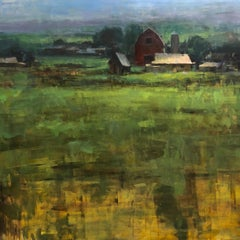 """North Valley Farm"" Modern Impressionist American Plein air Landscape oil"