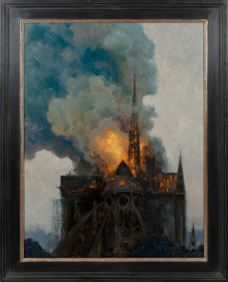 Notre Dame in Flames - Painting by Bryan Mark Taylor