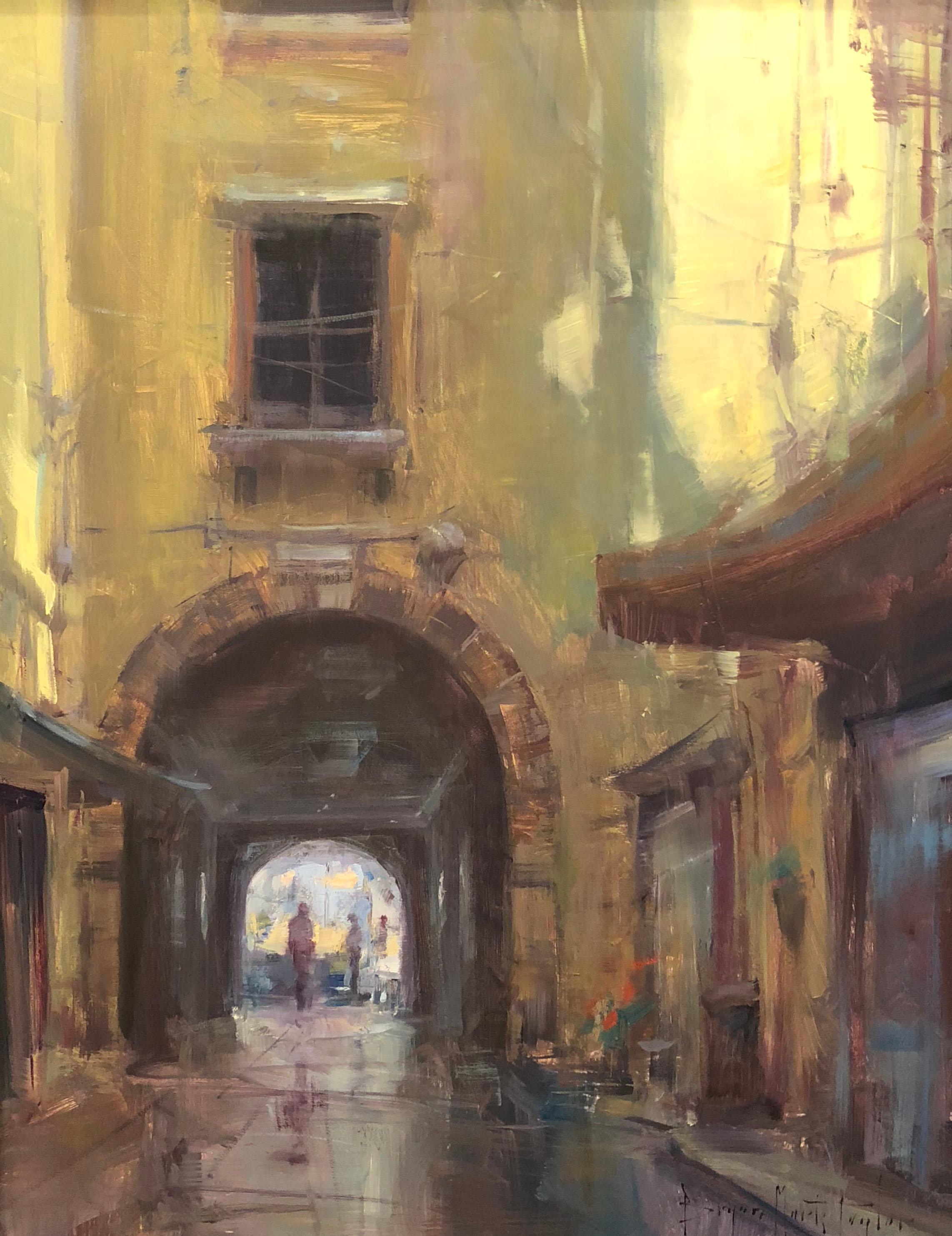 """""""Under The Archway"""" Modern Impressionist European Plein air Cityscape oil"""