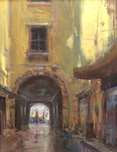 """Under The Archway"" Modern Impressionist European Plein air Cityscape oil"