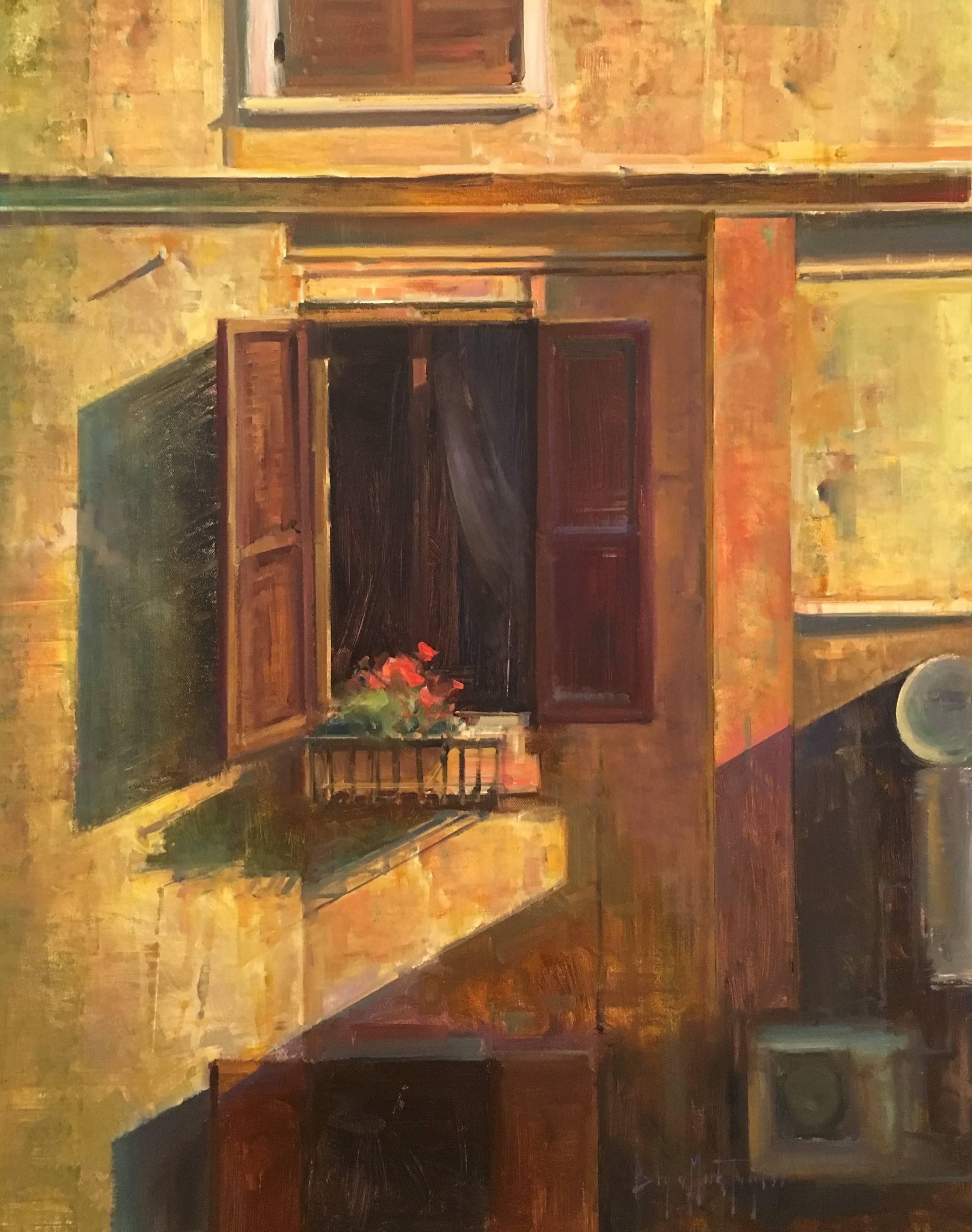 """Window View,"" Modern Impressionist Italian Scene Oil,  Bryan Mark Taylor"