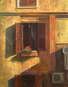 """Window View,"" Modern Impressionist Italian Scene Oil,  Bryan Mark Taylor"