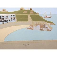 Bryan Pearce St Ives – Porthgwidden Beach 1970 - Oil on Board Harbour Scene
