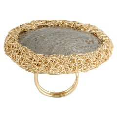 Grey Fossil Woven Contemporary Cocktail Ring 14 krt Yellow Gold F by the Artist