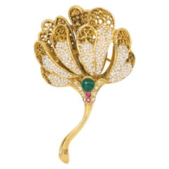 BSK Bead Encrusted Filigree Flower Pin with Emerald Cabochon and Rose Crystals