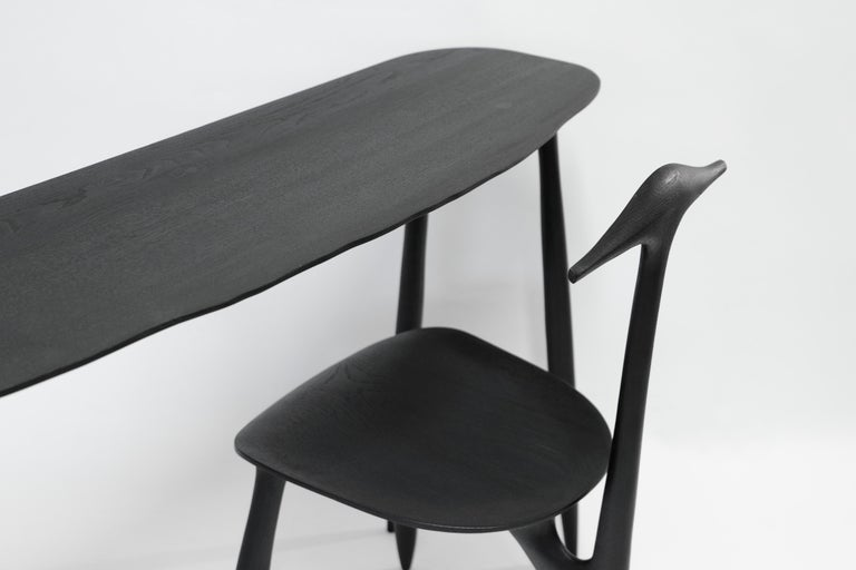 BTRFL console desk and chair, hand-sculpted by Cedric Breisacher Dimensions console desk: L 140 x l 35 x H 73 Dimensions chair Can be made in customized finish and dimensions. The hand-sculpted stool or chair can be bought with it. Signed