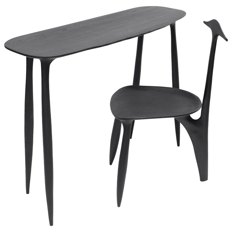 BTRFL Console Desk and Chair, Hand-Sculpted by Cedric Breisacher For Sale