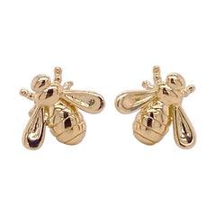 Bubble Bee Earrings, Honeybee Stud Earrings, Yellow Gold, Nature Inspired