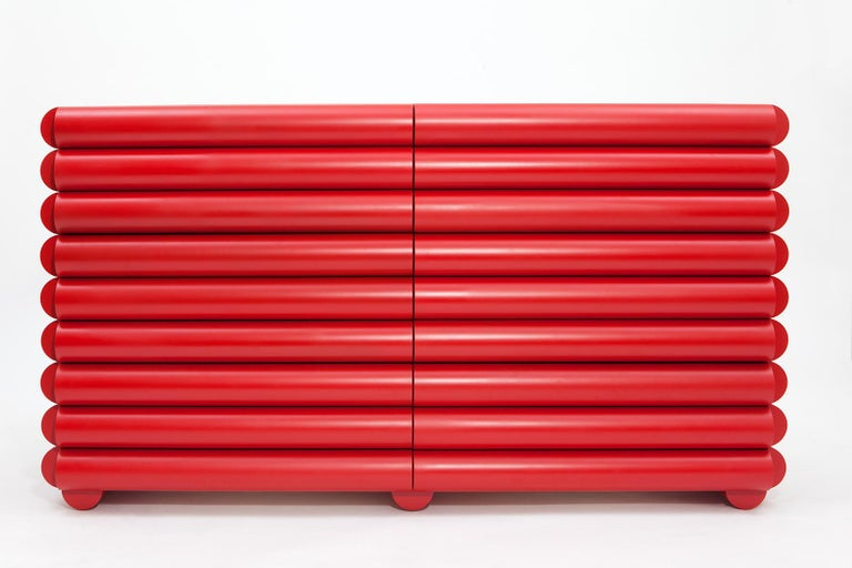 Modern Red Lacquered Wood Dresser or Credenza by Steven Bukowski and Hannah Bigeleisen For Sale
