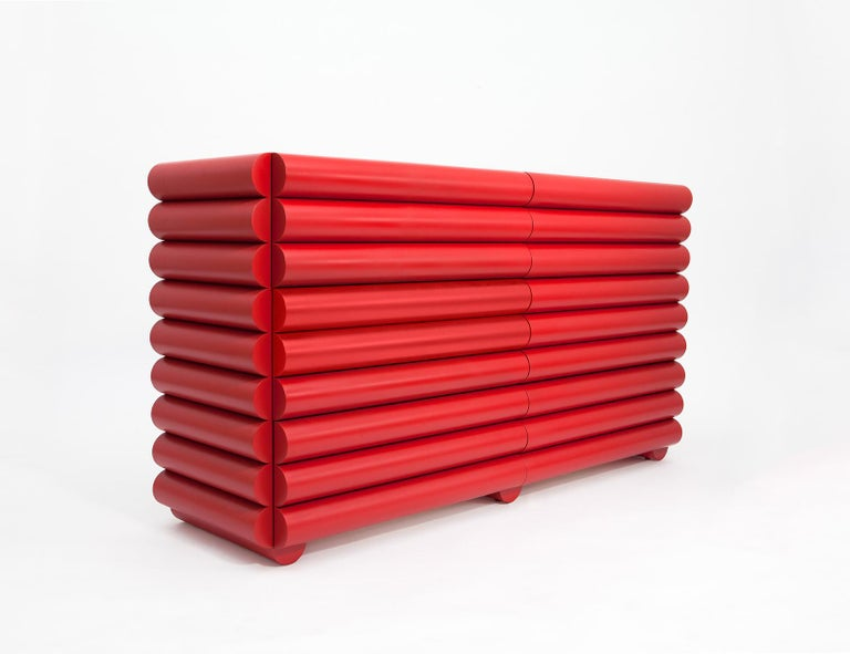 Red Lacquered Wood Dresser or Credenza by Steven Bukowski and Hannah Bigeleisen In New Condition For Sale In New York, NY