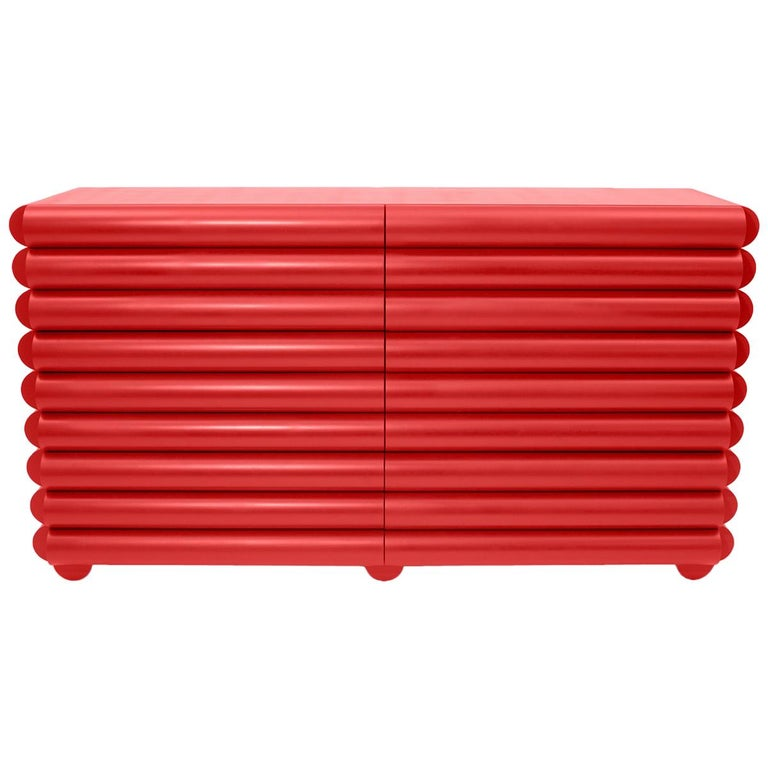 Bubble Bureau in Red Lacquered Poplar by Steven Bukowski and Hannah Bigeleisen For Sale