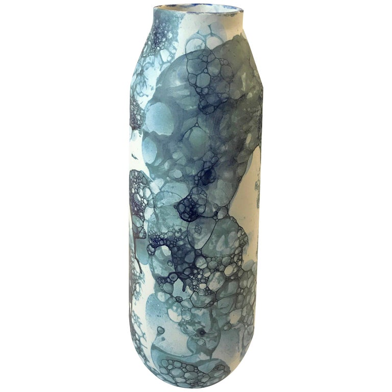 Blue Bubble Design on White Tall Ceramic Vase, Netherlands, Contemporary For Sale