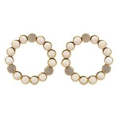 Bubble Diamond and Moonstone Earrings, 18 Karat Yellow Gold