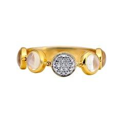 Bubble Diamond and Moonstone Flexile Ring, 18 Karat Yellow Gold