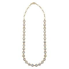 Bubble Diamond and Moonstone Necklace, 18 Karat Yellow Gold