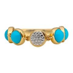 Bubble Diamond and Turquoise Flexile Ring, 18 Karat Yellow Gold