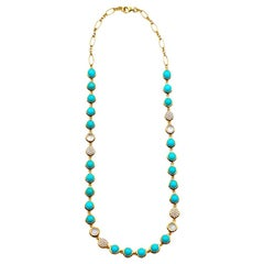 Bubble Diamond and Turquoise Necklace, 18 Karat Yellow Gold