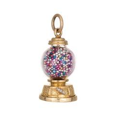Bubble Gum Charm 14k Yellow Gold Estate Fine Jewelry Vintage Pendant