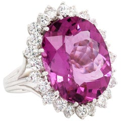 Bubble Gum Pink Tourmaline White Gold and Diamond Cocktail Ring