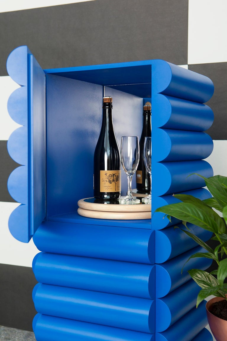 Klein Blue Lacquered Wood Minibar by Steven Bukowski and Hannah Bigeleisen In New Condition For Sale In Brooklyn, NY
