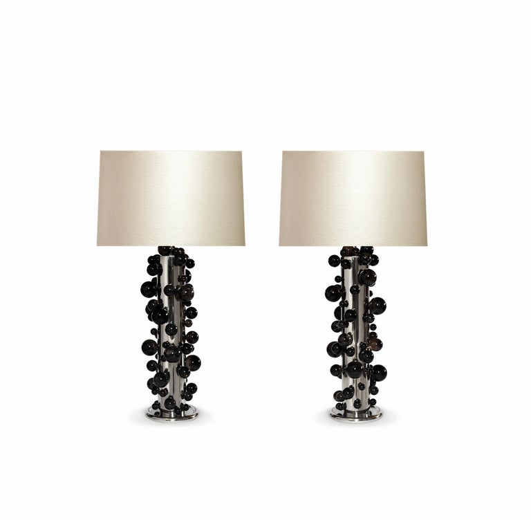 A tall pair of luxury dark rock crystal quartz bubble lamps with nickel plating frame. Created by Phoenix Gallery, NYC. Each lamp installed two sockets. To the top of the rock crystal 25.75