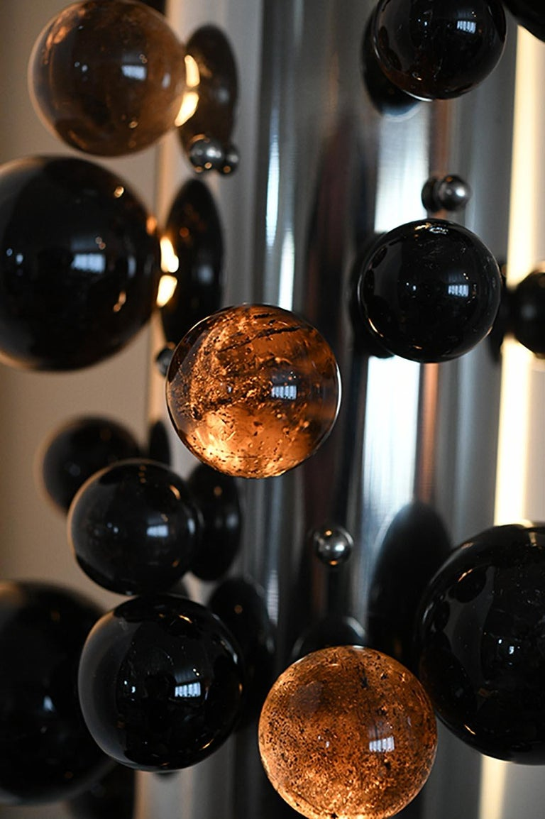 Contemporary Bubble Rock Crystal Sconces by Phoenix For Sale