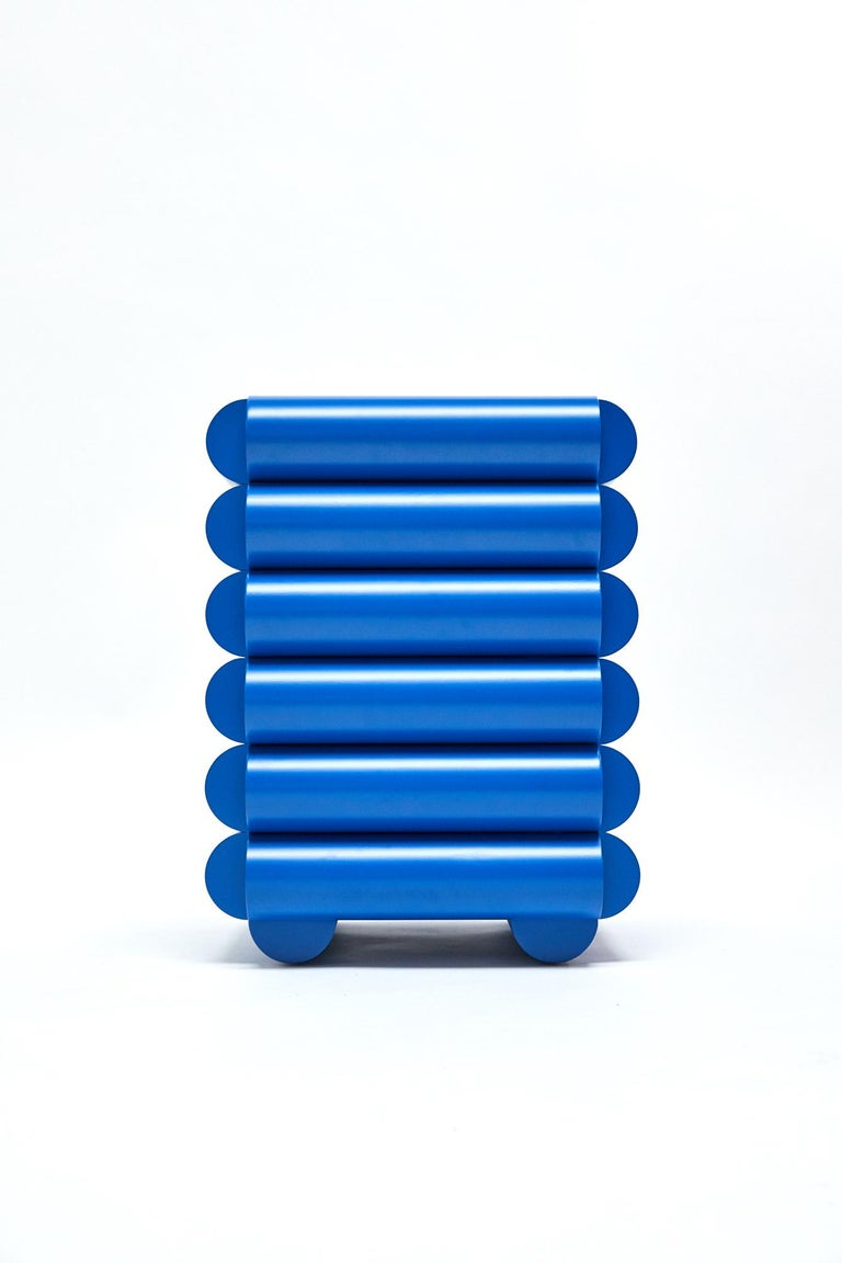 Post-Modern Bubble Side Table Chest of Drawers in Klein Blue by Steven Bukowski For Sale