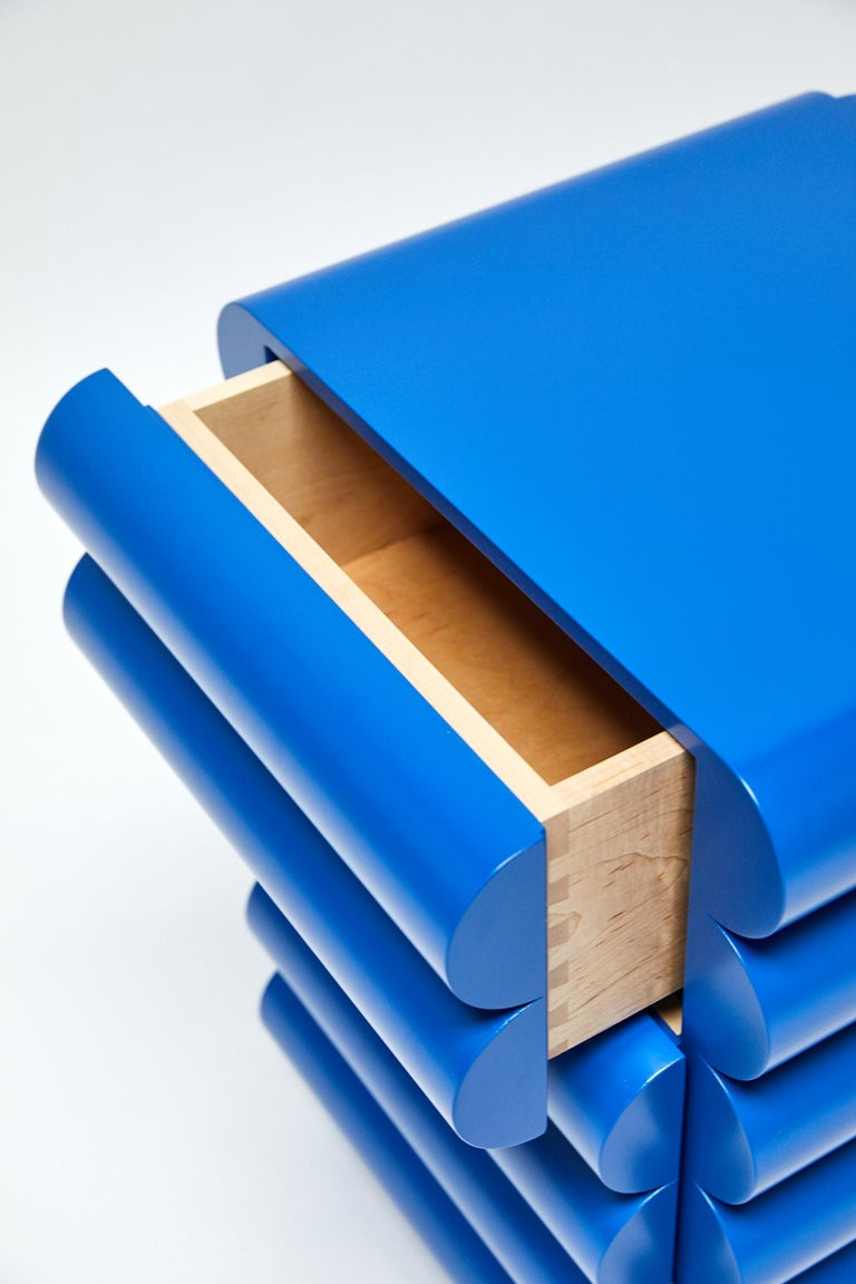 Lacquered Bubble Side Table Chest of Drawers in Klein Blue by Steven Bukowski For Sale
