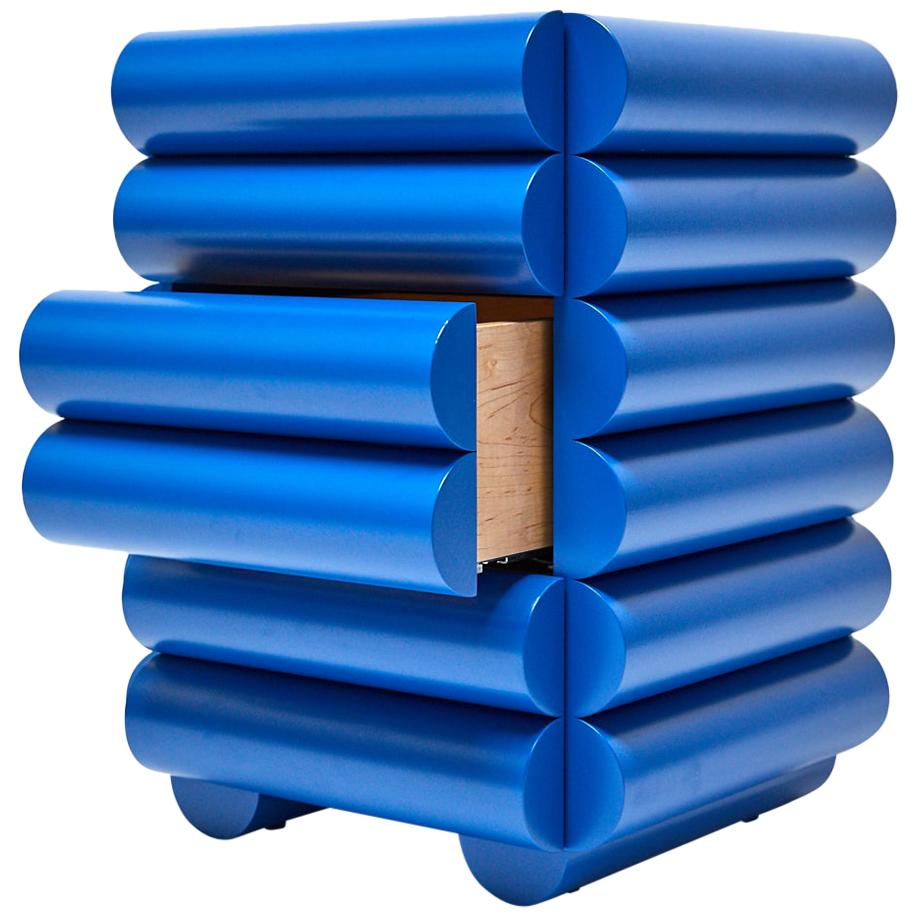 Bubble Side Table Chest of Drawers in Klein Blue by Steven Bukowski