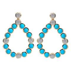 Bubble Teardrop Diamond and Turquoise Earrings, 18 Karat Yellow Gold