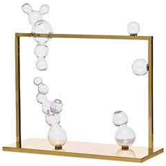 Bubble Vase Glass Sculpture Large with Brass Frame, Made in Italy