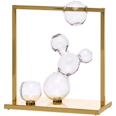Bubble Vase Glass Sculpture Small with Brass Frame, Made in Italy