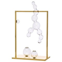 Bubble Vase Glass Sculpture with Brass Frame, Made in Italy