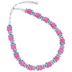 Bubblegum Pink Molded Glass Choker Necklace w AB Rhinestones By Trifari, 1960s