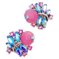 Bubblegum Pink Molded Glass Climber Earrings w AB Rhinestones By Trifari, 1960s