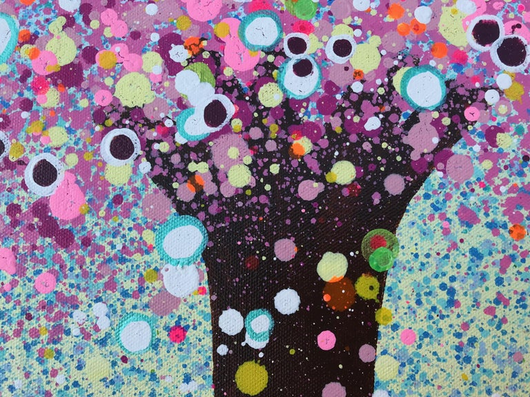 Brushed Bubblegum Summer, Contemporary Tree Painting For Sale
