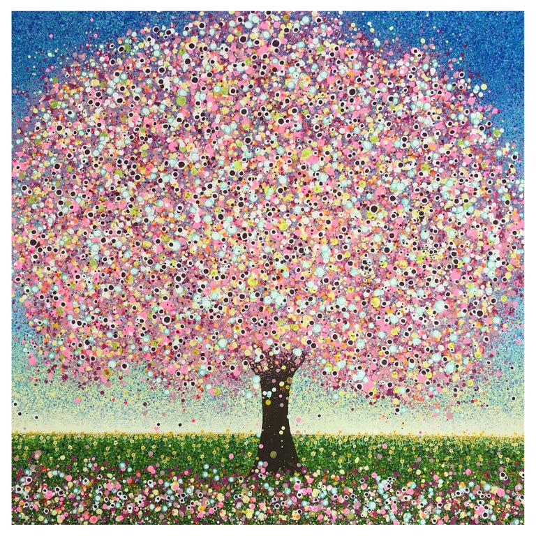 Bubblegum Summer, Contemporary Tree Painting For Sale