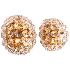 1960 Germany Palwa Bubble Wall Sconce Crystal & Gilt-Brass, Set of 2