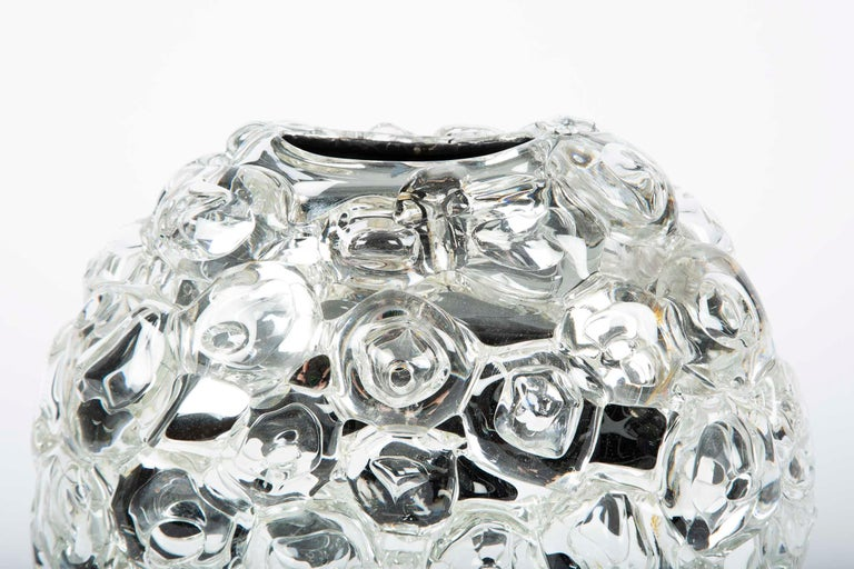 British Bubblewrap in Clear, a Unique silver & clear glass Vase by Allister Malcolm For Sale