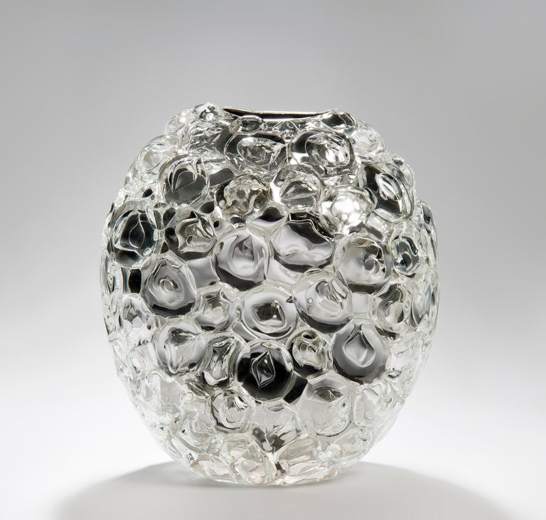Art Glass Bubblewrap in Clear, a Unique silver & clear glass Vase by Allister Malcolm For Sale