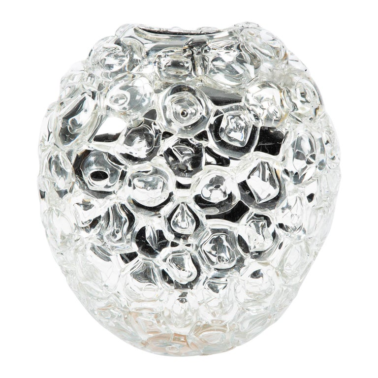 Bubblewrap in Clear, a Unique silver & clear glass Vase by Allister Malcolm For Sale