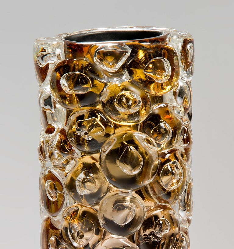Bubblewrap in Gold, a Unique pink, gold & silver glass Vase by Allister Malcolm For Sale 2