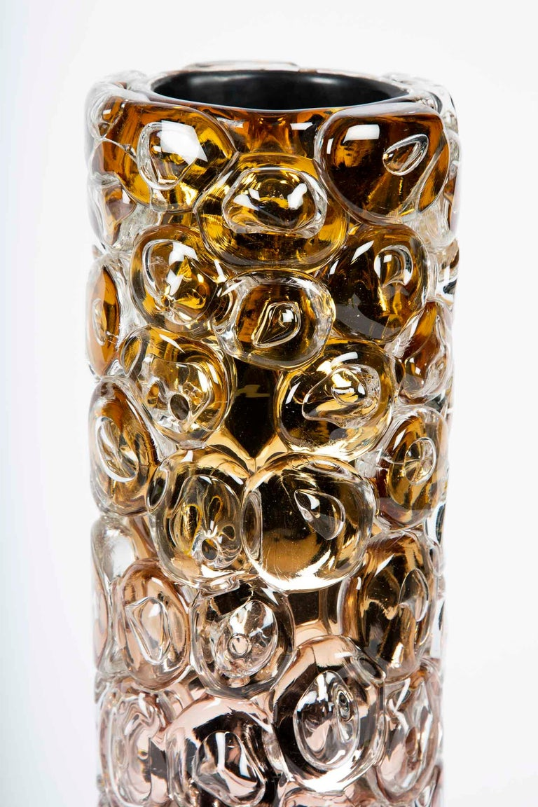 Modern Bubblewrap in Gold, a Unique pink, gold & silver glass Vase by Allister Malcolm For Sale