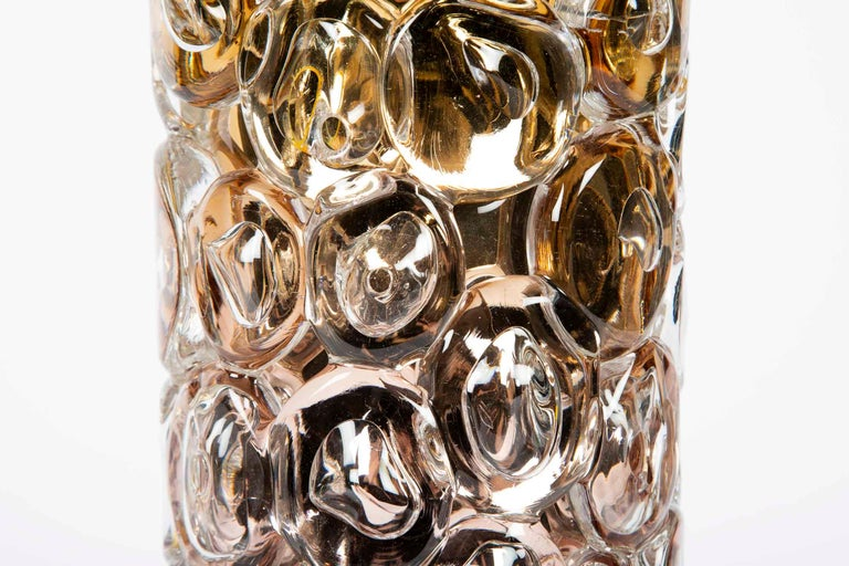 Bubblewrap in Gold, a Unique pink, gold & silver glass Vase by Allister Malcolm In New Condition For Sale In London, GB