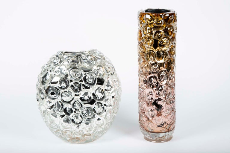 Contemporary Bubblewrap in Gold, a Unique pink, gold & silver glass Vase by Allister Malcolm For Sale