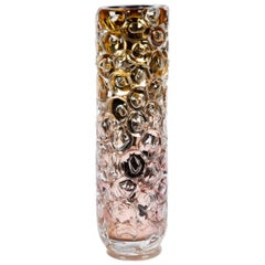 Bubblewrap in Gold, a Unique pink, gold & silver glass Vase by Allister Malcolm